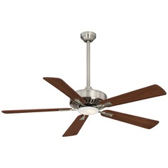 52-Inch Minka Aire Contractor Plus LED Brushed Nickel LED Ceiling Fan with Light