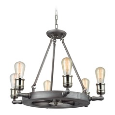 Elk Lighting Nautical Satin Pewter, Polished Nickel Chandelier