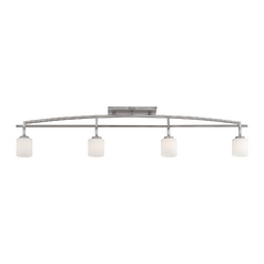 Modern Track Light Kit with White Glass in Antique Nickel Finish