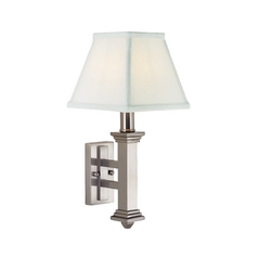 Traditional Sconce with White Shade in Satin Nickel Finish