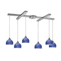 Modern Multi-Light Pendant Light with Blue Glass and 6-Lights
