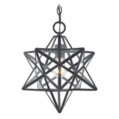Star Pendant Light Black 14.25-Inches Tall