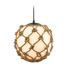 Elk Lighting Coastal Inlet Oil Rubbed Bronze Pendant Light with Globe Shade