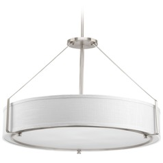 Progress Lighting Ratio Brushed Nickel Pendant Light with Drum Shade