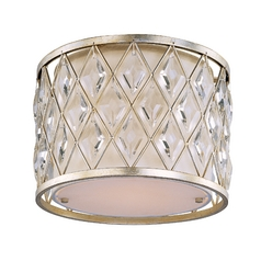 Flushmount Light with White Shade in Golden Silver Finish