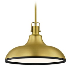 Metal Pendant Light Brass with Black 15.63-Inch Wide