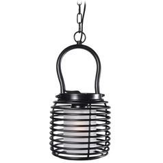 Kenroy Home Lighting Foundry Black Mini-Pendant Light with Cylindrical Shade