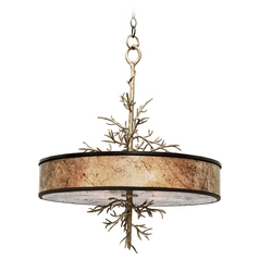 Kalco Lighting Oakham Bronze Gold Pendant Light with Drum Shade