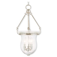 Livex Lighting Andover Polished Nickel Pendant Light with Fluted Shade