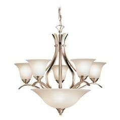 Kichler Lighting Kichler Chandelier with White Glass in Brushed Nickel Finish 2018NI