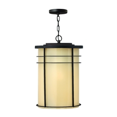 Hinkley Lighting Outdoor Hanging Light with Beige / Cream Glass in Museum Bronze Finish 1122MR