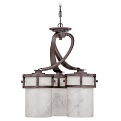 Dinette Pendant Light with White Onyx Shades in Iron Finish