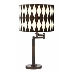 Design Classics Lighting Modern Swing Arm Lamp with Black Shade in Bronze Finish 1902-1-604 SH9491