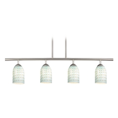 Modern Linear Pendant Light with 4-light in Satin Nickel Finish