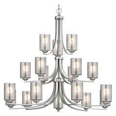Mercury Glass Chandelier Satin Nickel