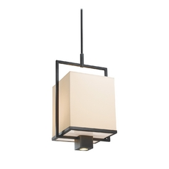 Modern Pendant Light with White Shade in Black Brass Finish