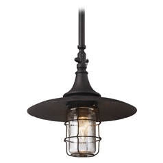 Troy Lighting Outdoor Hanging Light with Clear Glass in Centennial Rust Finish F3228