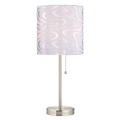 Pull-Chain Table Lamp with Silver Patterned Drum Shade