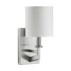 Quorum Nickel Wall Sconce with Grasscloth Shade 5462-1-65