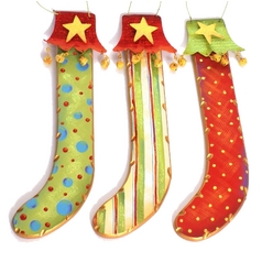 Christmas Stockings Hanging Holiday Decorations - Set of Three