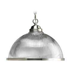 Progress Pendant Light with Clear Glass in Brushed Nickel Finish