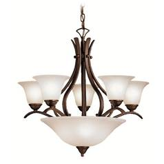 Kichler Lighting Kichler Chandelier with White Glass in Tannery Bronze Finish 2018TZ