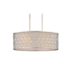 Drum Pendant Light with White Shade in Golden Silver Finish
