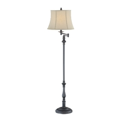 Swing Arm Lamp with Beige / Cream Shade in Dark Bronze Finish