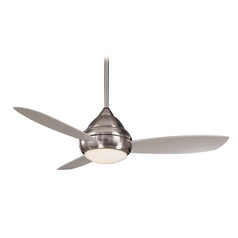 Minka Aire Fans Modern Ceiling Fan with Light with White Glass in Brushed Nickel Wet Finish F577-BNW