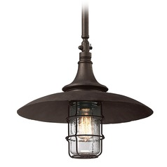 Troy Lighting Outdoor Hanging Light with Clear Glass in Centennial Rust Finish F3229