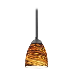 Design Classics Lighting Modern Mini-Pendant Light with Brown Art Glass 581-07  GL1023MB