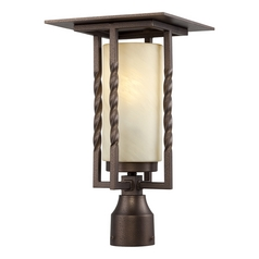Post Light with Beige / Cream Glass in Flemish Bronze Finish