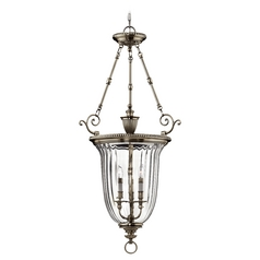 Pewter Chandelier with Bell Glass Shade