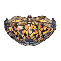 Dragonfly Tiffany Sconce Wall Light in Dark Bronze Finish