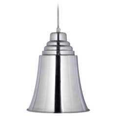 Kenroy Home Lighting Spinnaker Brushed Steel Mini-Pendant Light with Bell Shade