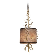 Kalco Lighting Oakham Bronze Gold Mini-Pendant Light with Drum Shade