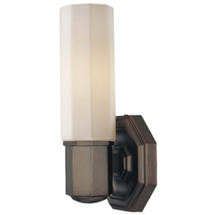 Modern Sconce Wall Light with White Glass in Dark Brushed Bronze Finish