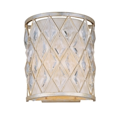 Sconce Wall Light with White Shade in Golden Silver Finish