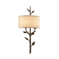 Sconce Wall Light with Beige / Cream Shade in Bronze Leaf Finish