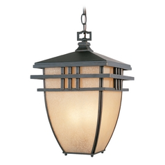 Outdoor Hanging Light with Beige / Cream Glass in Aged Bronze Patina Finish