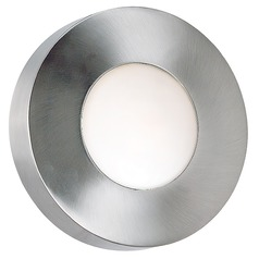 Modern Outdoor Wall Light with White Glass in Polished Aluminum Finish
