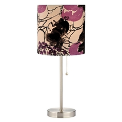 Pull-Chain Table Lamp with Flower Print Shade