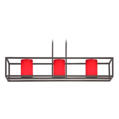 Red Glass Linear Chandelier 3 Lights in Bronze