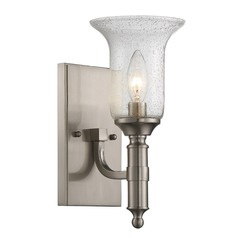Seeded Glass Sconce Satin Nickel Savoy House