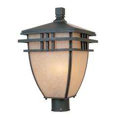 Post Light with Beige / Cream Glass in Aged Bronze Patina Finish