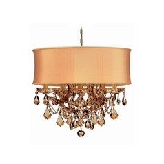 Crystal Mini-Chandelier with Gold Shade in Antique Brass Finish