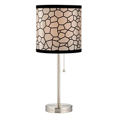 Pull-Chain Drum Table Lamp with Honeycomb Shade