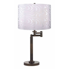 Swing Arm Lamp with Silver Shade in Bronze Finish