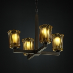 Justice Design Veneto Luce 4-Light Mini Chandelier in Dark Bronze