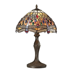 Dimond Lighting Dragonfly Tiffany Bronze Table Lamp with Bowl / Dome Shade